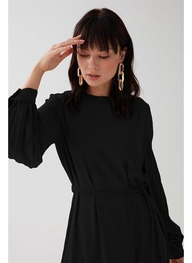 Vivencia Kolları Pile Detaylı Kadın Elbise Somon Siyah